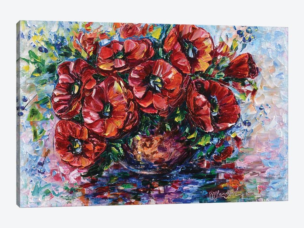 Poppies In Vase by OLena Art 1-piece Canvas Art Print