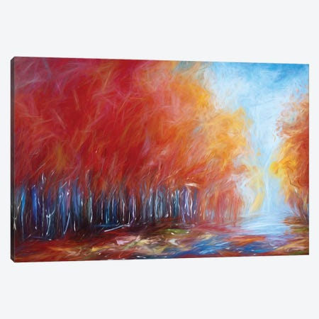Abstract Red Forest On A Rainy Day Canvas Print #OLE4} by OLena Art Art Print