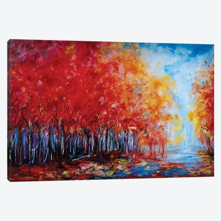 Red Fall Forest Canvas Print #OLE50} by OLena Art Canvas Artwork