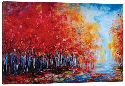 Red Fall Forest Canvas Art Print