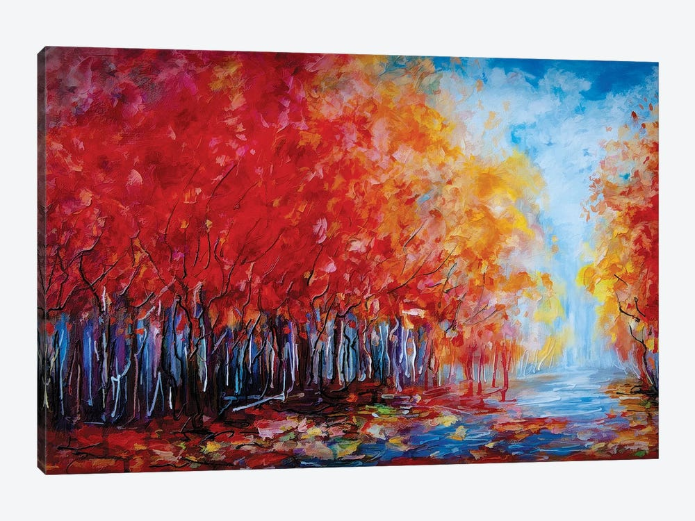 Red Fall Forest by OLena Art 1-piece Canvas Wall Art