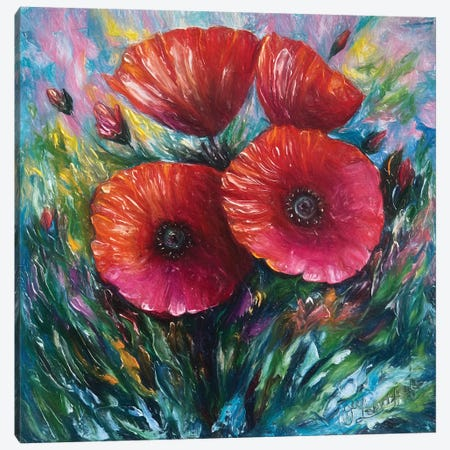 Red Poppies Canvas Print #OLE51} by OLena Art Canvas Artwork