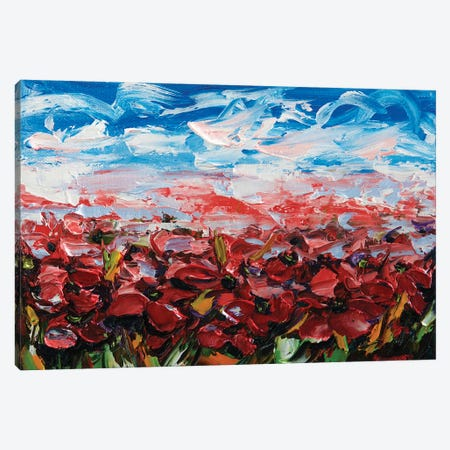 Red Poppy Field Canvas Print #OLE52} by OLena Art Canvas Art