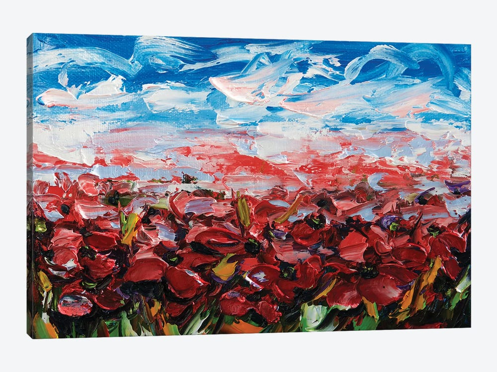 Red Poppy Field by OLena Art 1-piece Canvas Artwork