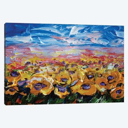 Sunflower Field Canvas Print #OLE59} by OLena Art Canvas Artwork