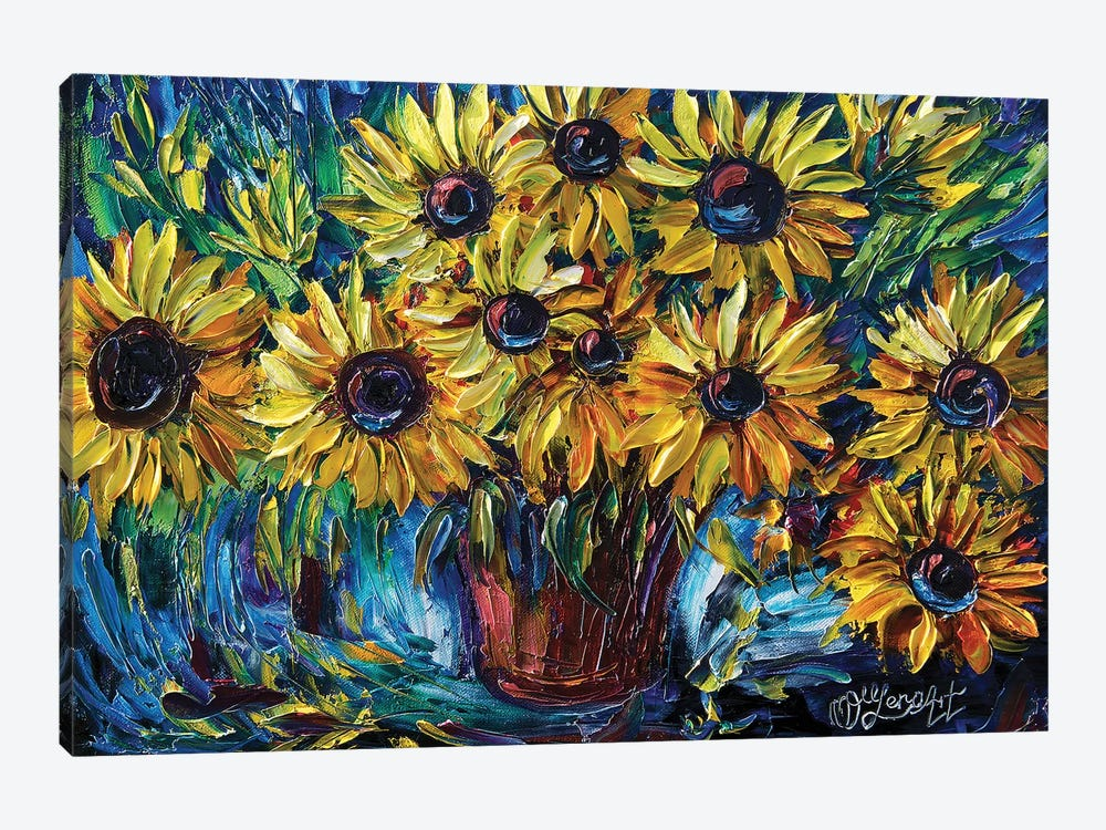 Sunflowers In A Vase by OLena Art 1-piece Canvas Art