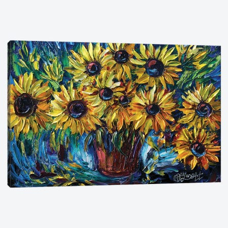 Sunflowers In A Vase Canvas Print #OLE61} by OLena Art Canvas Print