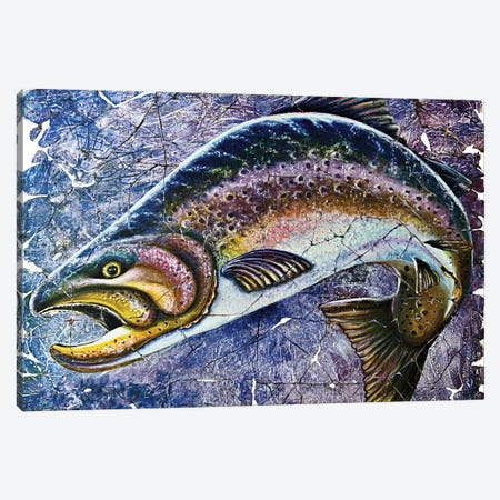 Vintage Blue Trout Fresco Canvas Print #OLE66} by OLena Art Canvas Wall Art