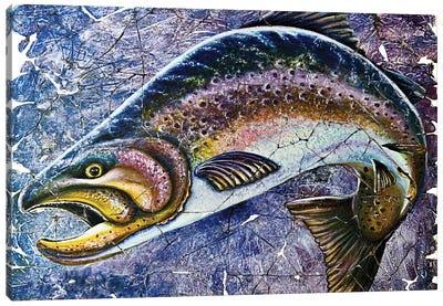 Vintage Blue Trout Fresco Canvas Art Print