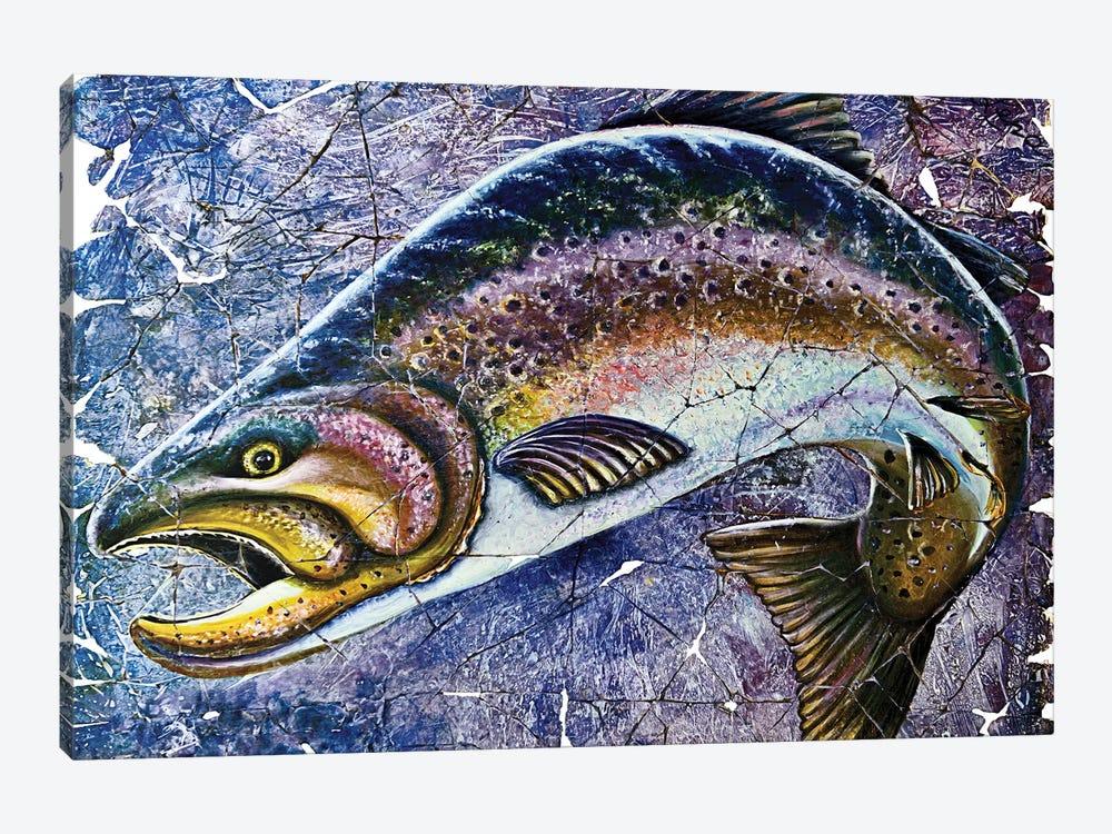 Vintage Blue Trout Fresco by OLena Art 1-piece Canvas Art Print