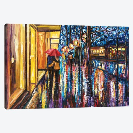 Walking Couple September Romance Canvas Print #OLE68} by OLena Art Art Print