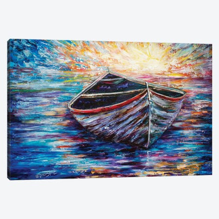 Wooden Boat At Sunrise Canvas Print #OLE75} by OLena Art Art Print