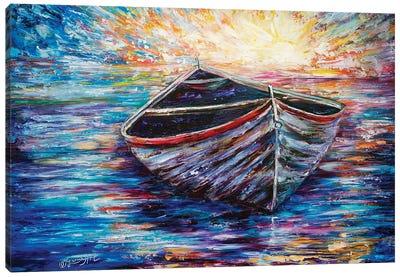 Wooden Boat At Sunrise Canvas Art Print