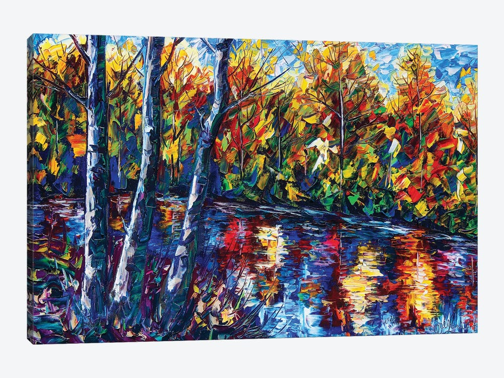 Autumn Forest River by OLena Art 1-piece Canvas Art