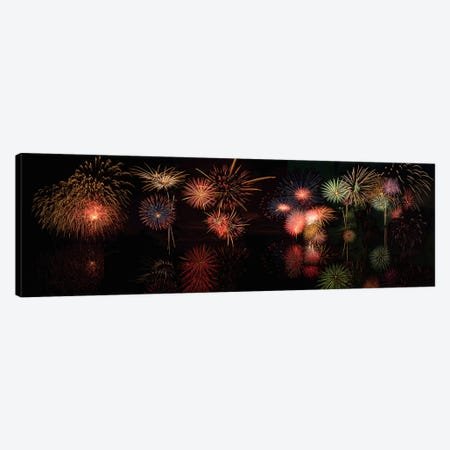 Fireworks Reflection In Water Panorama  Canvas Print #OLE86} by OLena Art Canvas Artwork