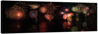 Fireworks Reflection In Water Panorama  Canvas Art Print
