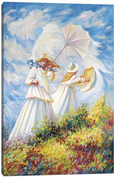 Monet Windy Day Canvas Art Print