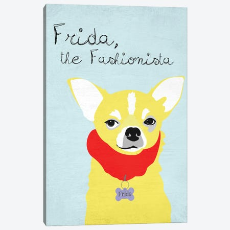 Frida The Fashionista Chihuahua Canvas Print #OLI12} by Ginger Oliphant Canvas Art