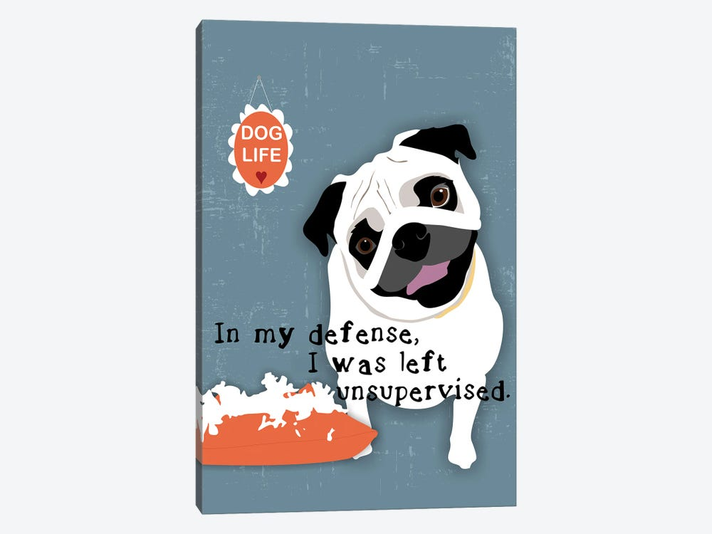 Pug Dog Life by Ginger Oliphant 1-piece Canvas Wall Art