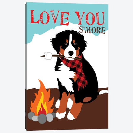 Bernese Mountain Dog - Love You S'More Canvas Print #OLI7} by Ginger Oliphant Art Print