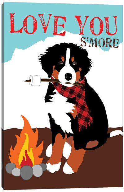 Bernese Mountain Dog - Love You S'More Canvas Art Print