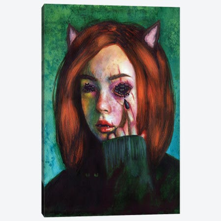 Cat Person Canvas Print #OLU119} by Olesya Umantsiva Canvas Art