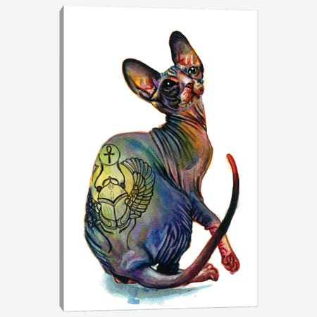 Tattooed Sphynx Canvas Print #OLU65} by Olesya Umantsiva Canvas Wall Art