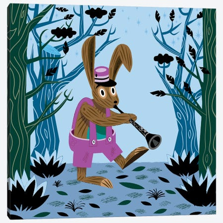 The Clarinet Bunny Canvas Print #OLV101} by Oliver Lake Canvas Print
