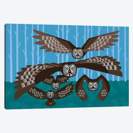 Five Owls In Flight Canvas Print #OLV102} by Oliver Lake Art Print