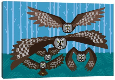 Five Owls In Flight Canvas Art Print