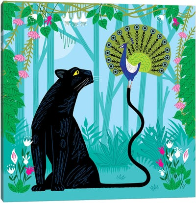 The Peacock And The Panther Canvas Art Print