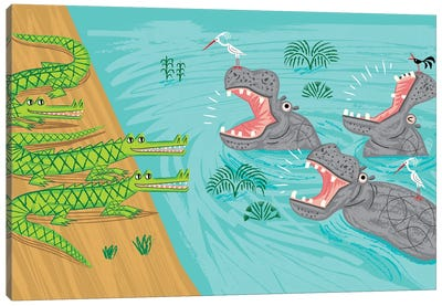 Crocodiles and Hippos Canvas Art Print