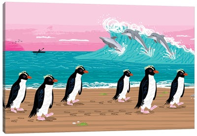 Penguins and Dolphins Canvas Art Print