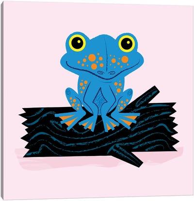 Frog On A Log Canvas Art Print