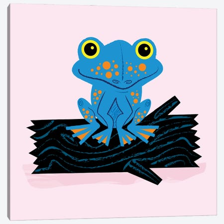 Frog On A Log Canvas Print #OLV16} by Oliver Lake Canvas Wall Art