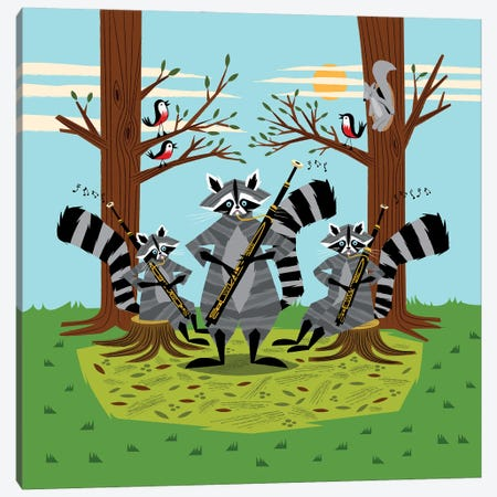 Raccoons Playing Bassoons Canvas Print #OLV33} by Oliver Lake Canvas Print
