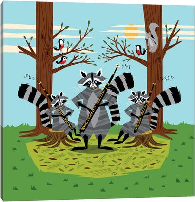Raccoons Playing Bassoons Canvas Art Print