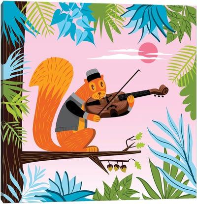 Red Squirrel Serenade Canvas Art Print