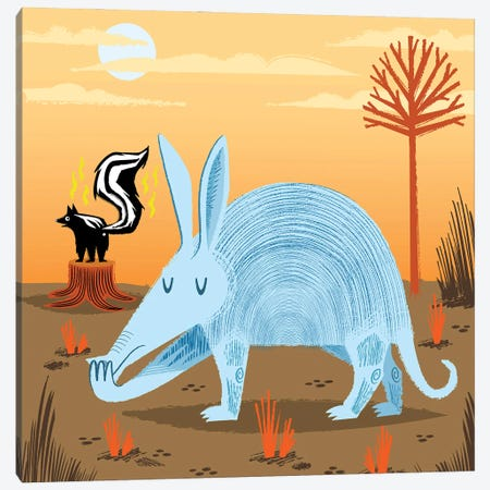 The Aardvark And The Skunk Canvas Print #OLV44} by Oliver Lake Canvas Print