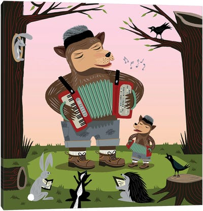 The Accordion Bear Canvas Art Print