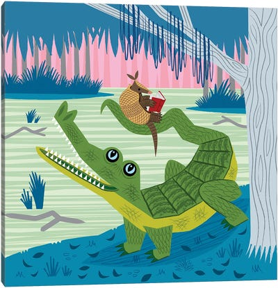 The Alligator And The Armadillo Canvas Art Print