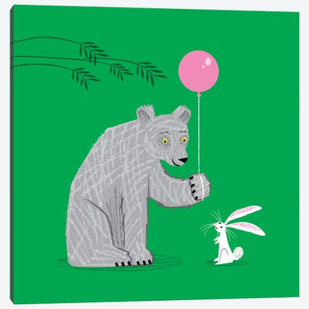 The Bear And The Bunny Canvas Print #OLV49} by Oliver Lake Canvas Wall Art