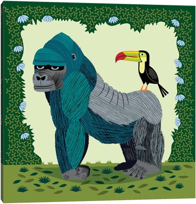 The Gorilla And The Toucan Canvas Art Print