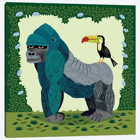 The Gorilla And The Toucan Canvas Print #OLV54} by Oliver Lake Canvas Art