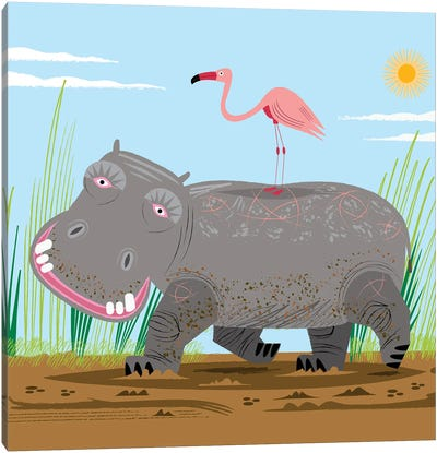 The Hippo and The Flamingo Canvas Art Print