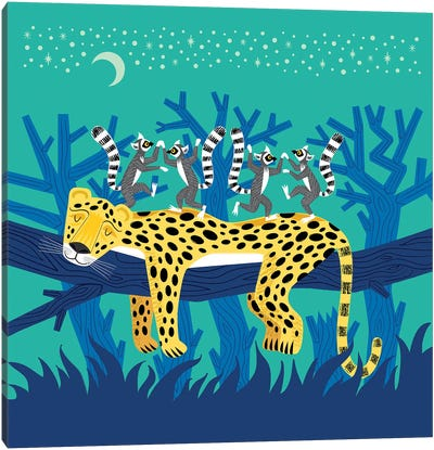 The Leopard And The Lemurs Canvas Art Print
