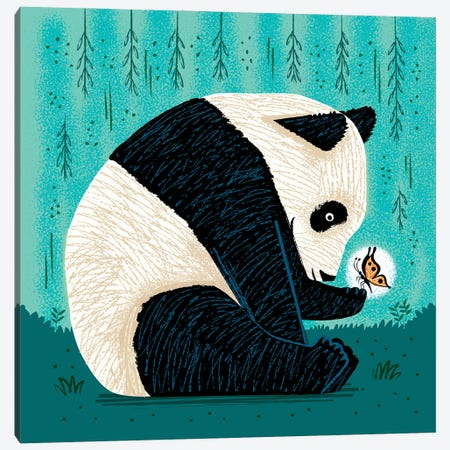 The Panda And The Butterfly Canvas Print #OLV71} by Oliver Lake Art Print