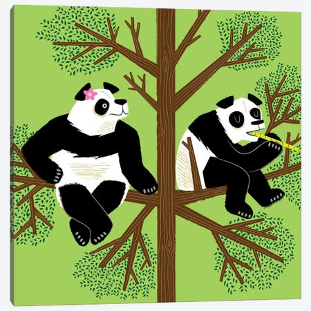 The Peeved Panda Canvas Print #OLV72} by Oliver Lake Art Print
