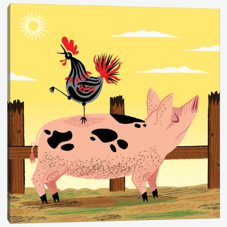The Pig And The Rooster Canvas Print #OLV73} by Oliver Lake Canvas Print