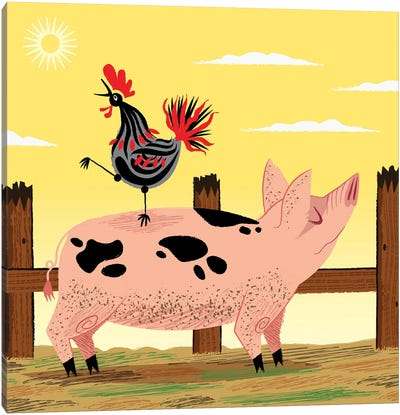 The Pig And The Rooster Canvas Art Print